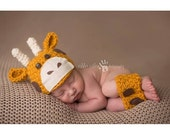 Baby Girrafe Hat and Legging Set/ Newborn Up to 3 Months/ Complimentary Shipping in the US