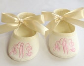 Baby Baptism Shoes - Monogrammed Ivory Booties - Baby Shoe Christening - Shoes & Slippers - Baby Shower Gift - Keepsake Baby Gift
