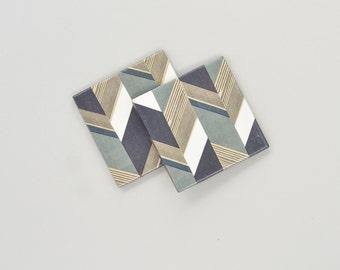 Herringbone Pattern Coasters Geometric Neutral Colors Ceramic Tile Drink Coasters Gift for Men