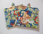Blue Quilted Potholders