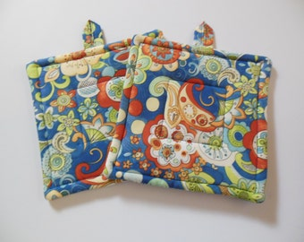 Potholders, Set of Two Quilted Potholders, Pair of Pretty Blue Abstract Potholders
