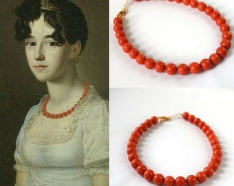 Large Regency Coral Necklace, Coral Beaded Necklace, Big Coral Bead, Faux Coral Necklace, Pink Coral Jewelry, Regency Necklace, 19th Century