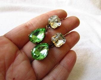 Peridot Green Crystal Earrings, Green Wedding Earring, Apple Green Paste Jewelry, Georgian Earring Regency Jewelry Green Rhinestone Crystal
