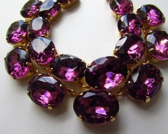 Purple Statement Necklace, Amethyst Jewelry, Anna Wintour Necklace, Rhinstone Collet Necklace, Georgian Jewelry, Regency Jewelry, Purple