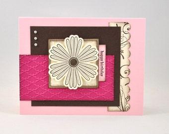 Birthday Greeting Card, Happy Birthday, Flower, Pink, Brown, Tan, Ivory, Swirls, Patterns, For Her, Stamped, Blank Inside