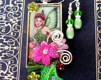 Jewelry Set (S617) Necklace and Earrings, Fairy Graphic Under Resin Pendant, Flowers, Crystal Dangles, Silver, Green and Pink