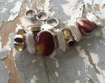 Sterling Silver Aryo Gemstone Pearl Bracelet Mookaite Jasper Jewelry