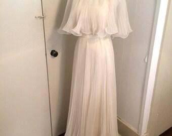 Vintage chiffon accordion pleat wedding gown