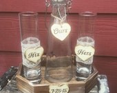 His and Hers Sand Ceremony Set  With Wedding Date Country Barnyard Rustic Farmhouse Wedding