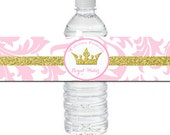 Pink Princess Baby Shower Water Bottle Labels Printable - Pink and Gold Sparkle Collection