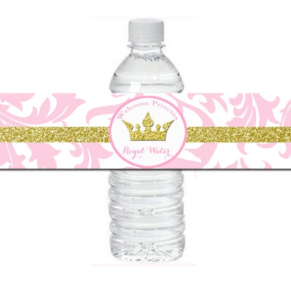 Marvelous Pink Princess Baby Shower Water Bottle Labels Printable   Pink And Gold  Sparkle Collection
