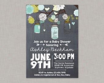Mason Jar Invitation, Baby Shower, Bridal Shower, Mason Jar Birthday, Chalkboard