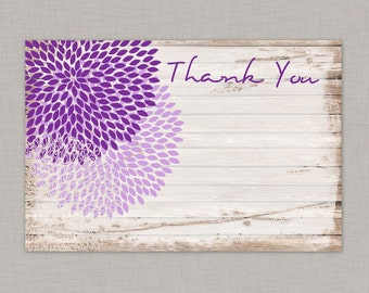 Floral Thank You Card, Rustic Thank You Card, Thank You Card, Country, Printable Thank You Card