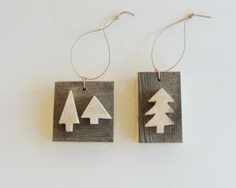 Rustic Tree Ornaments,  2 Rustic Wood Trees, Natural Christmas, Rustic Christmas Ornament, Recycled Wood Ornament, Aspen Tree Ornament