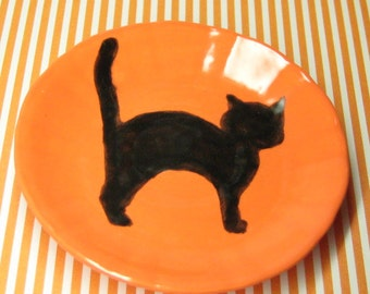 Halloween miniature plate black cat 69mm for your 18 inch doll party favor ceramic dish sized for American girl orange