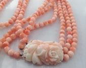 Vintage Carved Pink Angel Skin Coral Necklace