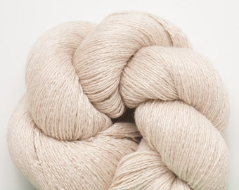 Beige Silk Cashmere Lace Weight Recycled Yarn, 2746 yards available
