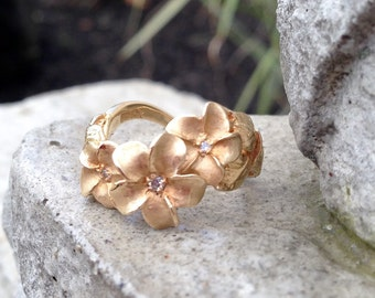 SWEET Sale***  20% off with Free Shipping this month only!!!  14k yellow gold floral design diamond ring