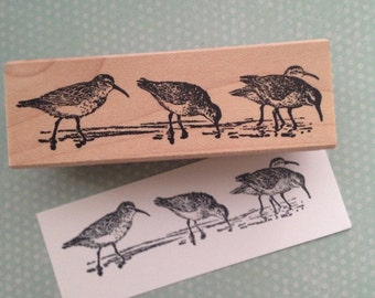 Four Sandpipers  Wood Mounted Rubber Stamp 4593