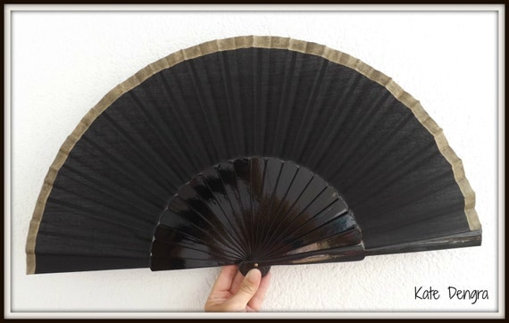 Black and Gold Hand Fan