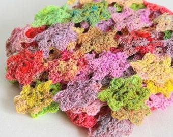 Crochet scarf flowers multi colors. Handmade. Noro. Green pink yellow red. Accessory women. Gift women.