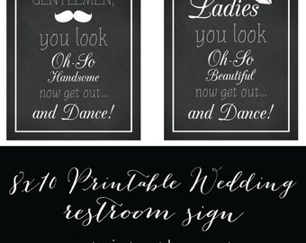 Ladies and Gentlemen You Look Oh So Handsome Wedding Party and Event Restroom Sign Card 8x10 inch / DIY Printable File Digital Download