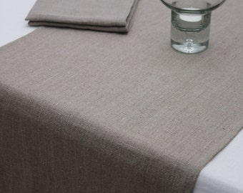 Rough Softened Linen Runner. Natural grey. Various sizes.