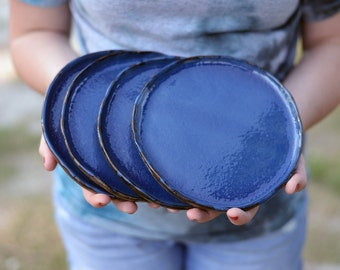 Set of 4 Handbuilt Ceramic Plates (Blue Glaze/Red Clay)