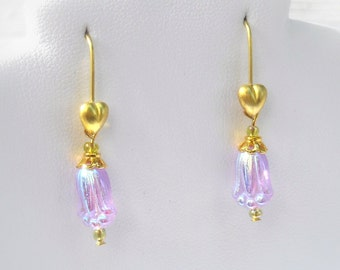 Lavender Iris Earrings --Flower Earrings