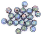 Copper Beads 6.3 mm Fluted with Iridescent Patina