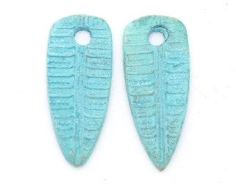 Leaf Dangles Handmade Bronze with Blue Patina