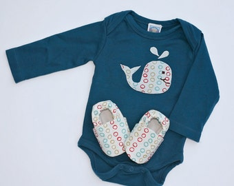Baby Gift Set. Whale Organic Long Sleeve Bodysuit with Handmade Organic Baby Shoes- Gift for 0 3 6 12 18 months- Baby Clothes Baby Booties