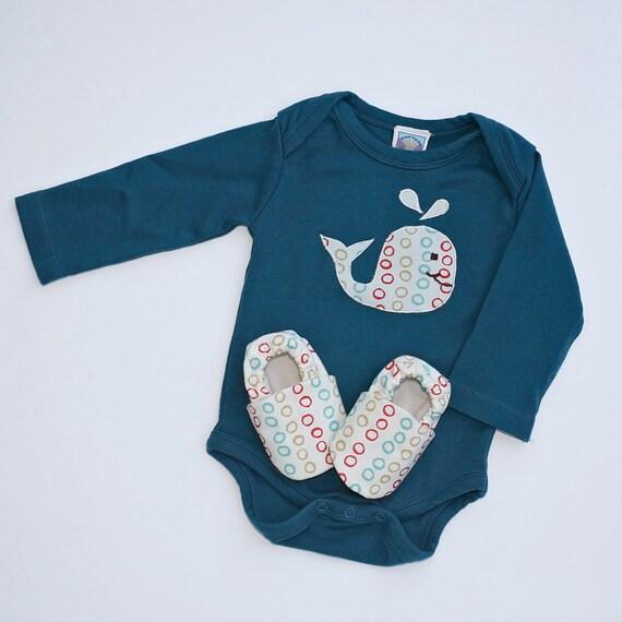 Baby Gift Organic : Baby gift set whale organic long sleeve bodysuit with