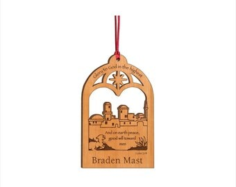 Personalized Wood Christmas Ornament - Glory To God In The Highest Nativity Ornament - Custom Engraved Ornament - Heirloom Ornament