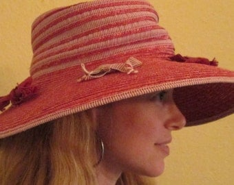 Da-Me Brim Hat / Pink Red Straw Hat Italy / Hat With Bows / Classy Sun Hat
