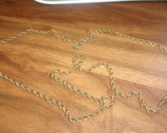 vintage necklace long goldtone rope chain monet