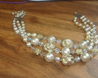 vintage necklace triple strand faux pearls glass gold lucite