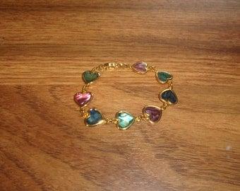 vintage bracelet goldtone shell heart colorful