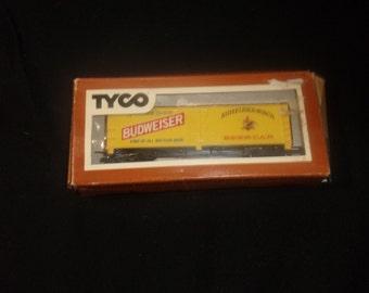 vintage ho toy train car yellow budweiser beer tyco railroad setup