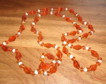 vintage necklace long orange glass beads
