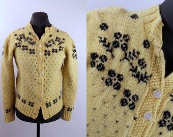 Vintage - 50s - 60s - Womens - Buttercream Yellow - Brown Woven Floral - Button Up Cardigan - Scandinavian Wool Sweater