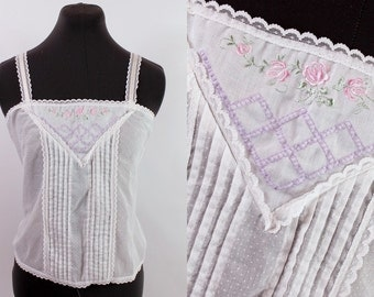 Vintage 70s 80s - White Pleated Lace Trim - Embroidered Floral Roses Swiss Polka Dot - Satin Ribbon Spaghetti Straps - Camisole Tank Top