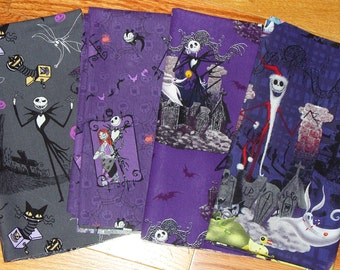 Nightmare before Christmas Fabric, 4 Fat Quarters, Jack Skellington, Jack as Santa, Jack Sally Zero, Purples and Grey, Tim Burton