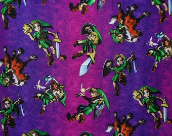 Legend of Zelda, Zelda Toss,  Nintendo Fabric, Purple and Pink,  Zelda Fabric, By the Yard