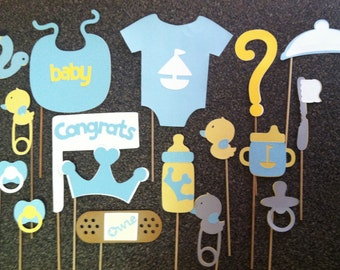 UNISEX girl or boy  baby photo booth props yellow, blue, grey, white