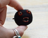 Halloween Zombie Monster Brooch - Black and Red Needle Felted Halloween Pheeple Face Character Pin with Teeth