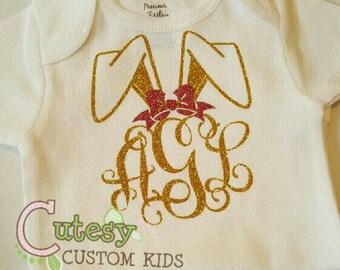Bunny ears monogram glitter shirt