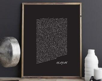 Valentines Day Gift. Wedding Vows Keepsake Print for Newlyweds & Anniversaries - Script