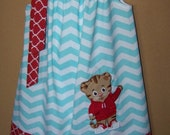 Daniel Tiger Pillowcase Dress Inspired by Daniel Tiger's Neighborhood, Aqua and White Chevron with Red Quatrefoil, Size 2T to 14