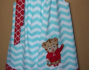 Daniel Tiger Pillowcase Dress Inspired by Daniel Tiger's Neighborhood, Aqua and White Chevron with Red Quatrefoil, Size 6 mo to 14